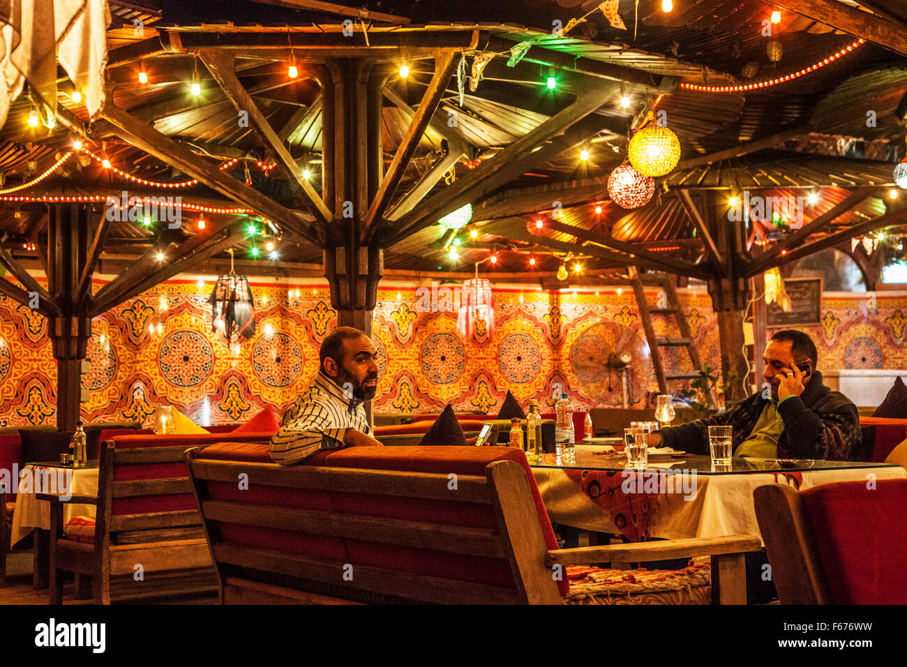 Interior of a typical waterside restaurant in Dahab, Egypt. - Stock Image