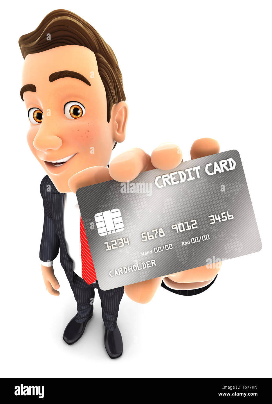 3d businessman holding a credit card, isolated white background Stock Photo