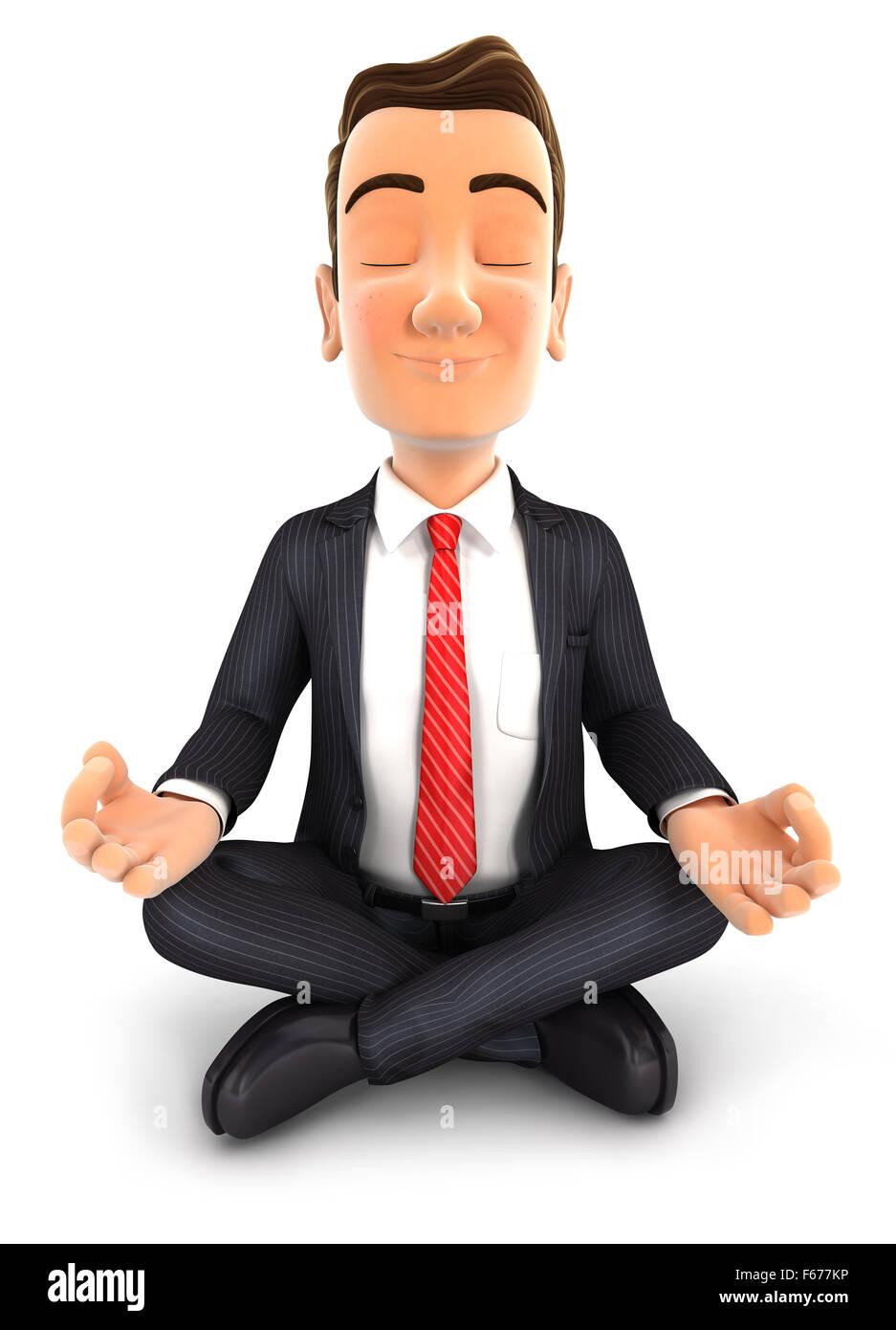 3d businessman doing yoga, isolated white background Stock Photo