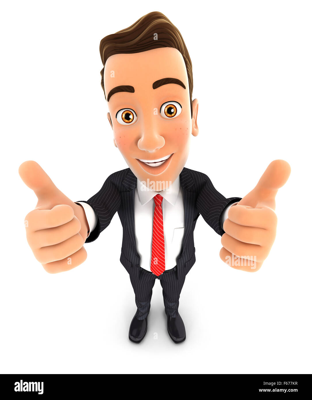 3d businessman with thumbs up, isolated white background Stock Photo