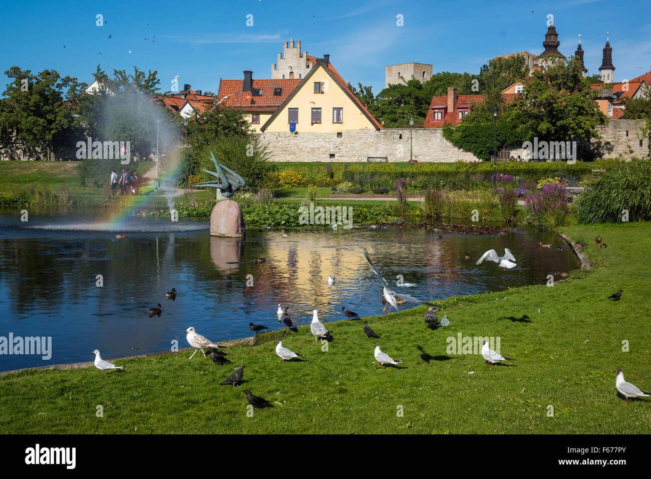 Visby, the medieval city on the Gotland island, Sweden - Stock Image