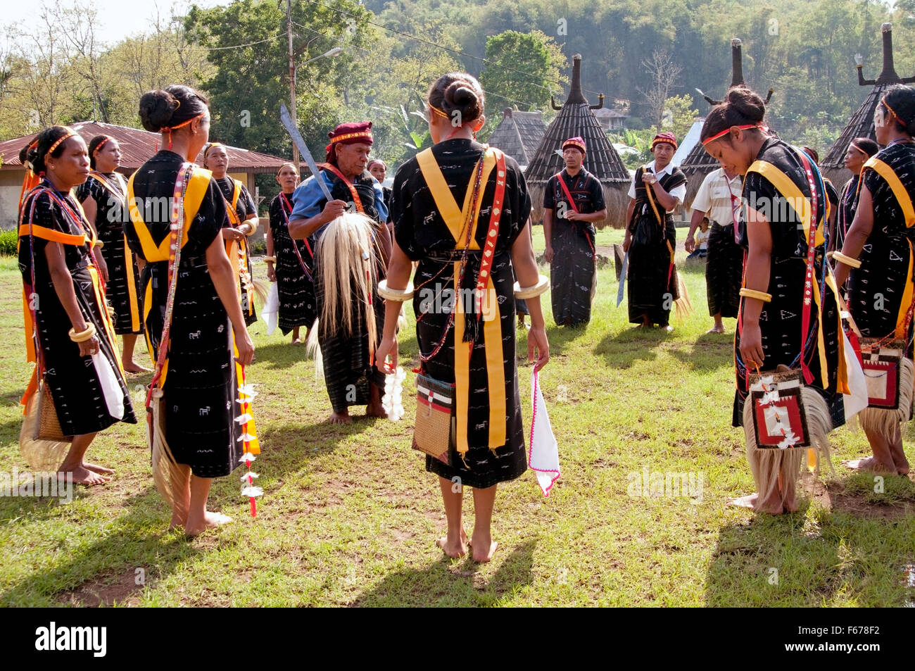 People Dancing At Ceremony At Wagomenge Flores Indonesia Stock Photo