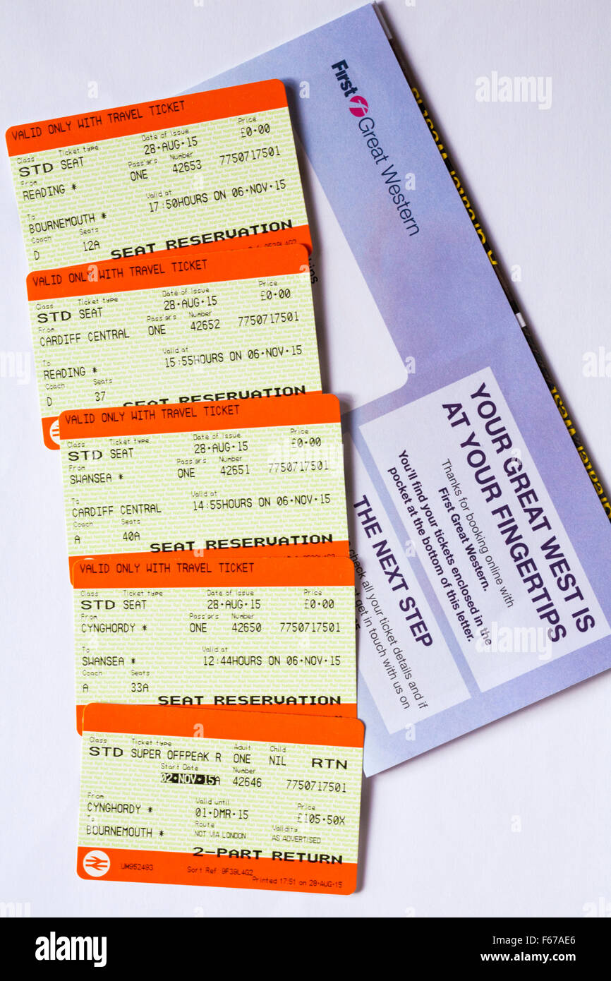 train tickets for train trip between Cynghordy, Wales and Bournemouth, Dorset Stock Photo