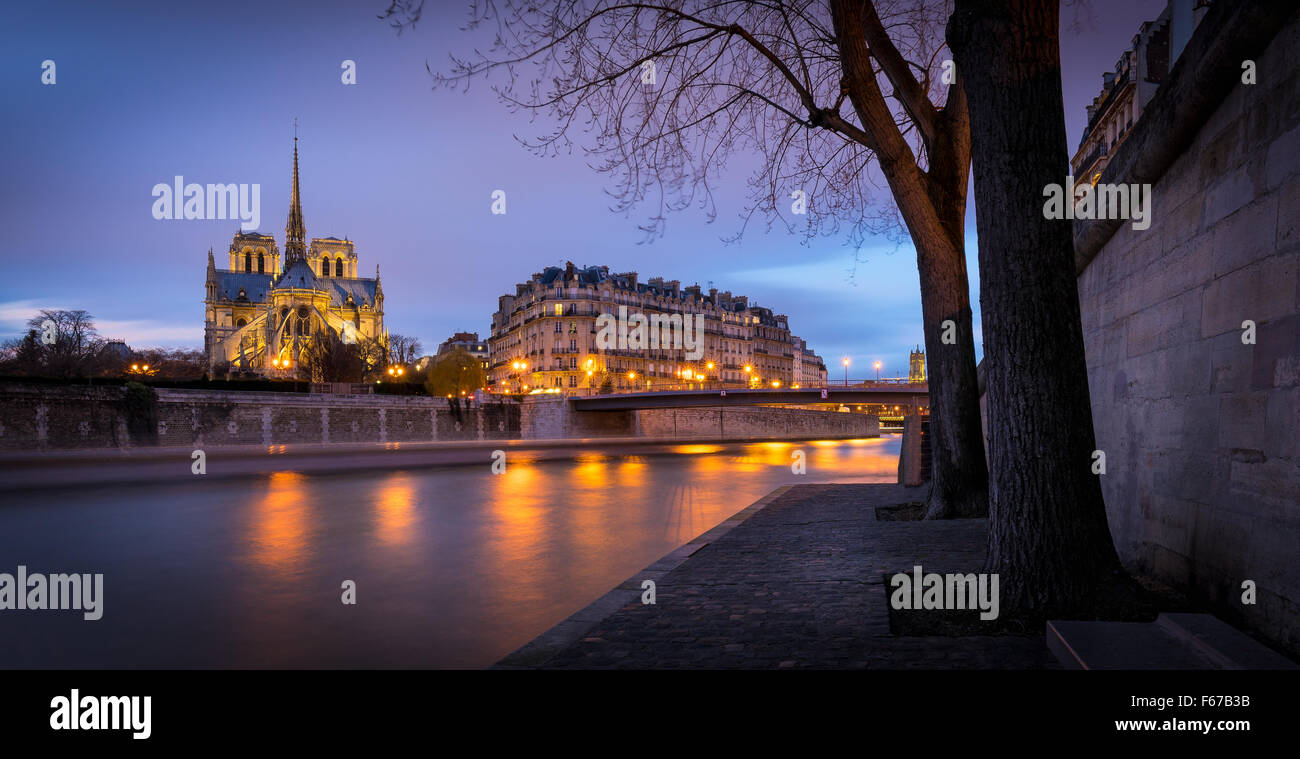 Illuminated Notre Dame de Paris Cathedral at Twilight on Ile de la Cite. Reflection of city lights on the Seine - Stock Image
