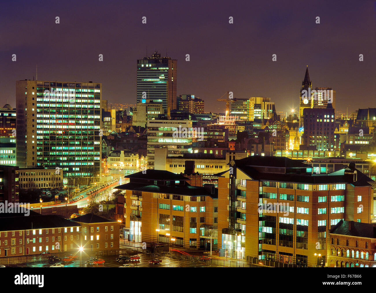 Skyline of Manchester town centre, Greater Manchester, England. Wider view can be seen on image ref: B8G2YE - Stock Image