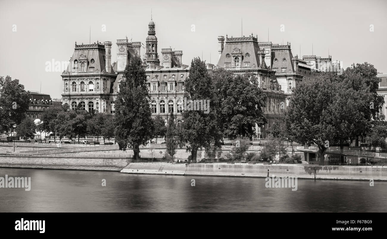 Black & White (vintage look) view of the south facade of Paris City Hall from the River Seine, Right Bank, 75004, - Stock Image