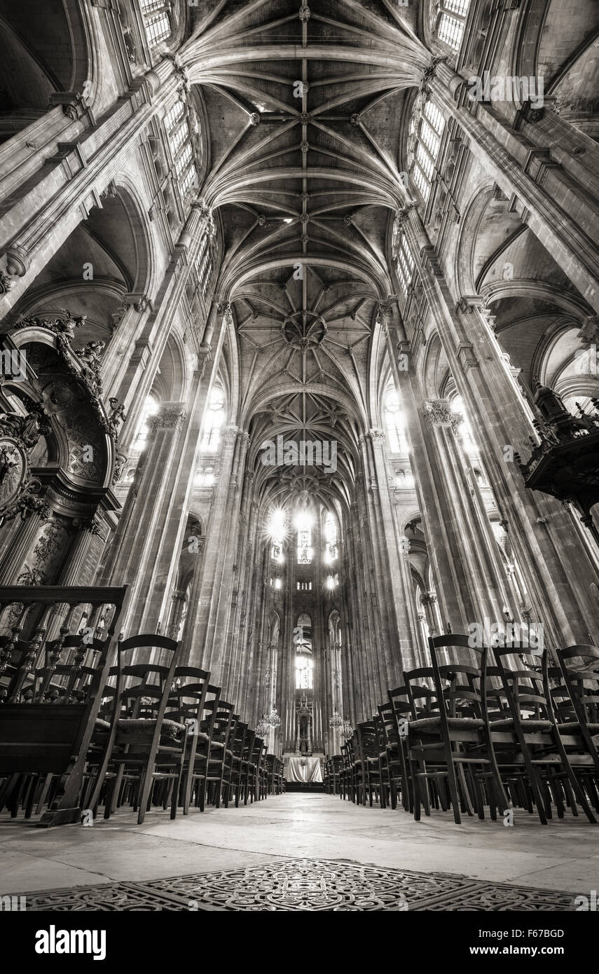 Nave with French Gothic Vaulted Arches, Church of Saint Eustache in the 1st arrondissement, Les Halles, 75001, Paris, Stock Photo