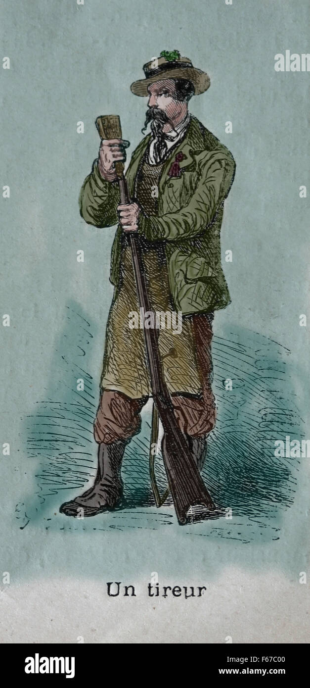 Shooter. Swiss. Engraving. Color. 19th century. - Stock Image
