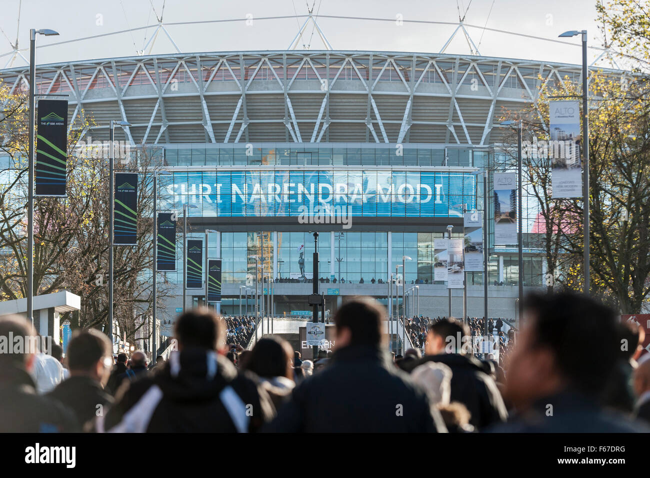 check out 9ddee 428aa 13 November 2015. Welcome signs overhead as over 55,000 British Indians  arrive at Wembley Stadium to attend an event in honour of the Indian Prime  Minister, ...