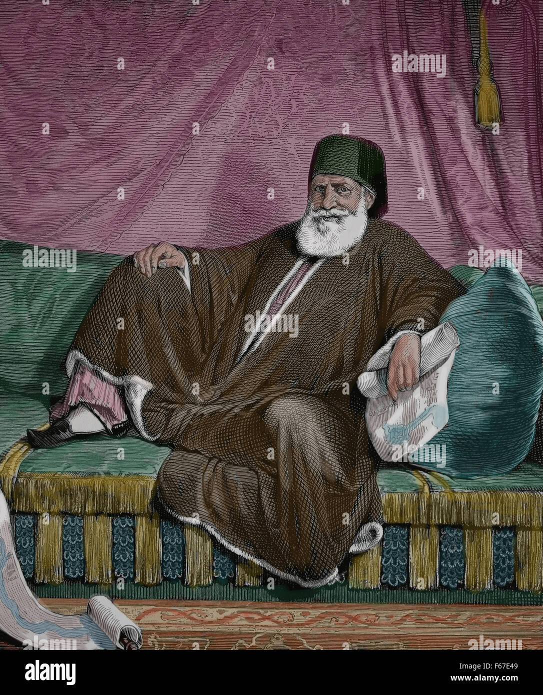 Muhammad Ali of Egypt (1769-1849). Ottoman Albanian commander in the Ottoman army. Color. - Stock Image