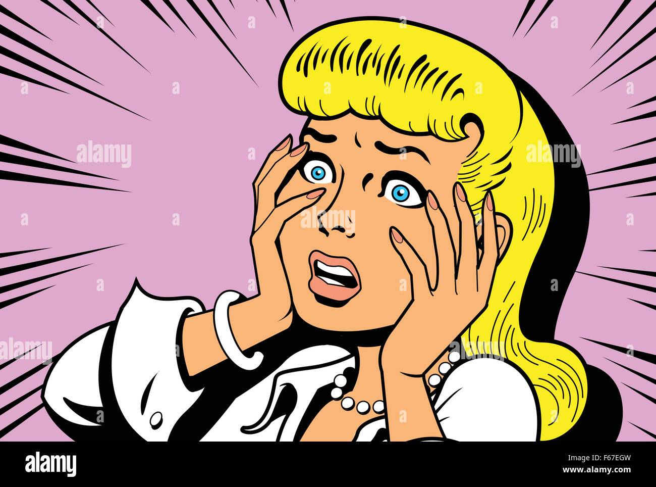Ironic Satirical Illustration of a Retro Classic Comics Woman Being a Drama Queen - Stock Image