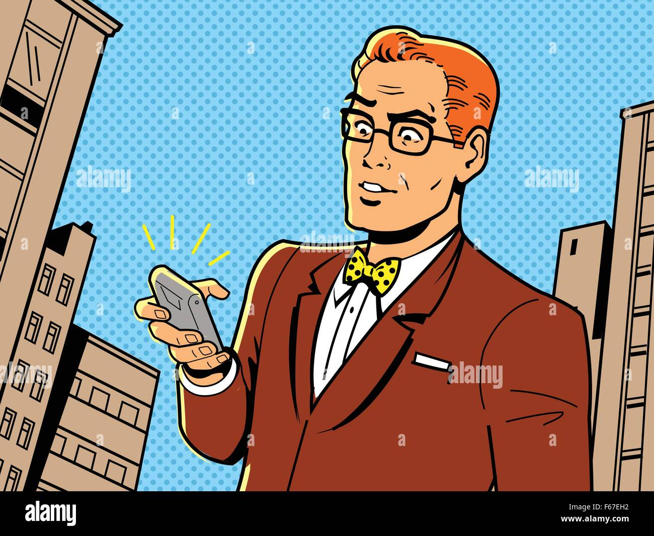 Ironic Illustration of a Retro 1940s or 1950s Man With Glasses, Bow Tie and Modern Smartphone - Stock Image