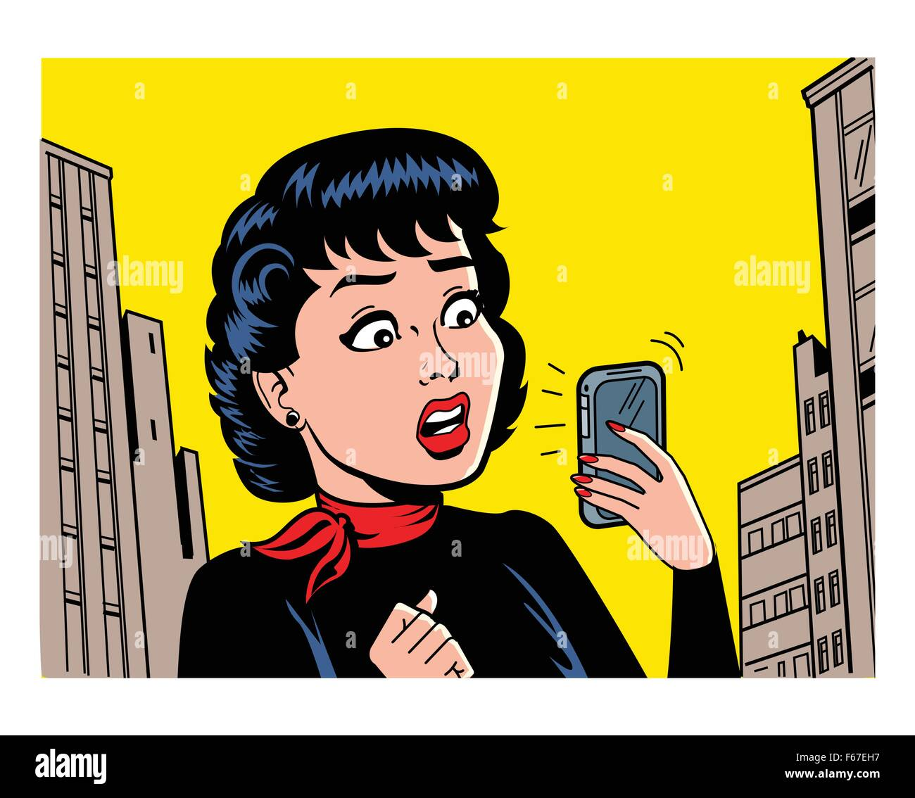 Ironic Satirical Illustration of a Retro Classic Comics Woman With a Modern Smartphone - Stock Vector
