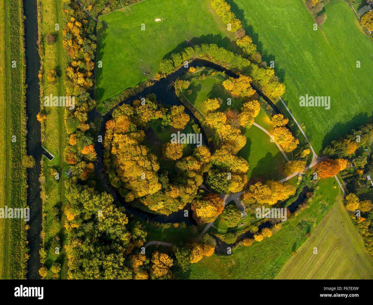 Burghügel Mark, the nucleus of the city of Hamm, former site of the castle, Hamm, Ruhr area, North Rhine-Westphalia, - Stock Image
