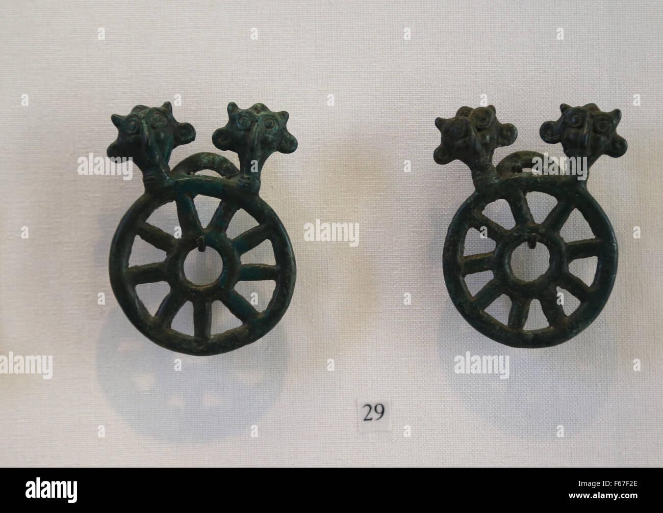 Luristan art. Near east. Iran. Cheek plate. Bronze. 8th-7th century BC. Louvre Museum. Paris. France. - Stock Image