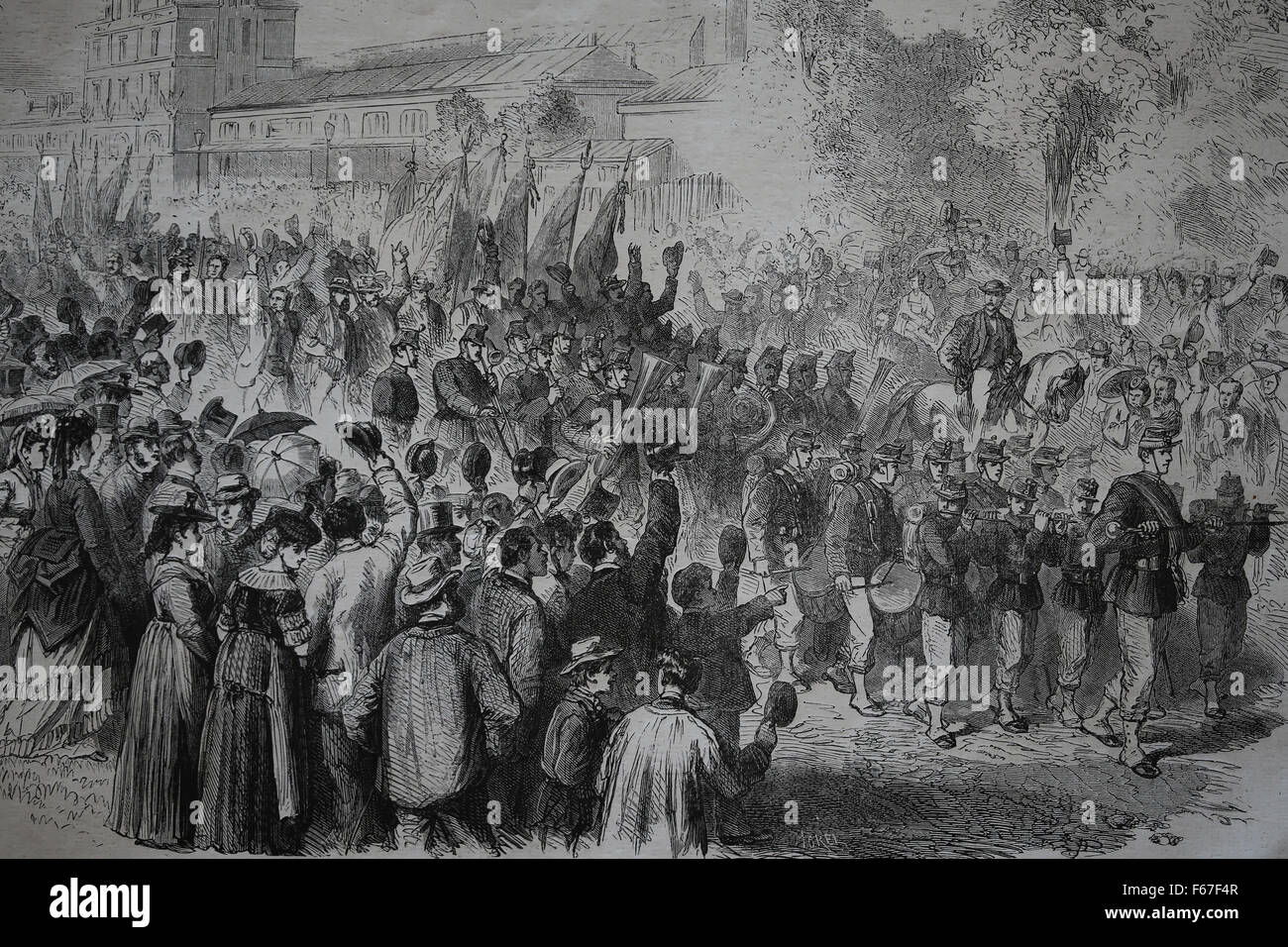 France. Macon. Fetes Franco-Swiss. The Swiss had their entry into town. Engraving by Le Monde Illustre, France, - Stock Image