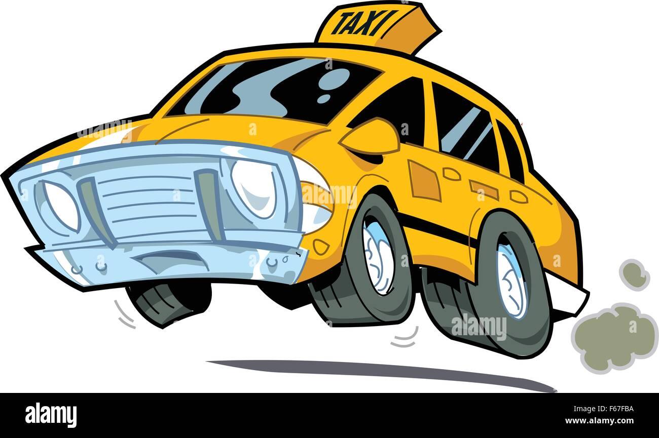 Cartoon Illustration of a Speeding New York City Taxi - Stock Vector
