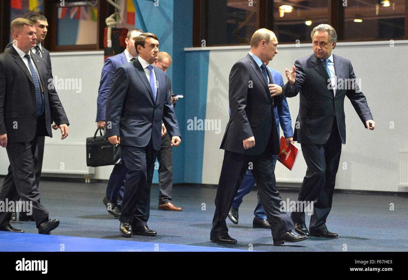 Russian President Vladimir Putin accompanied by Minister of Sport Vitaly Mutko during a visit to the Yug Sport Federal - Stock Image
