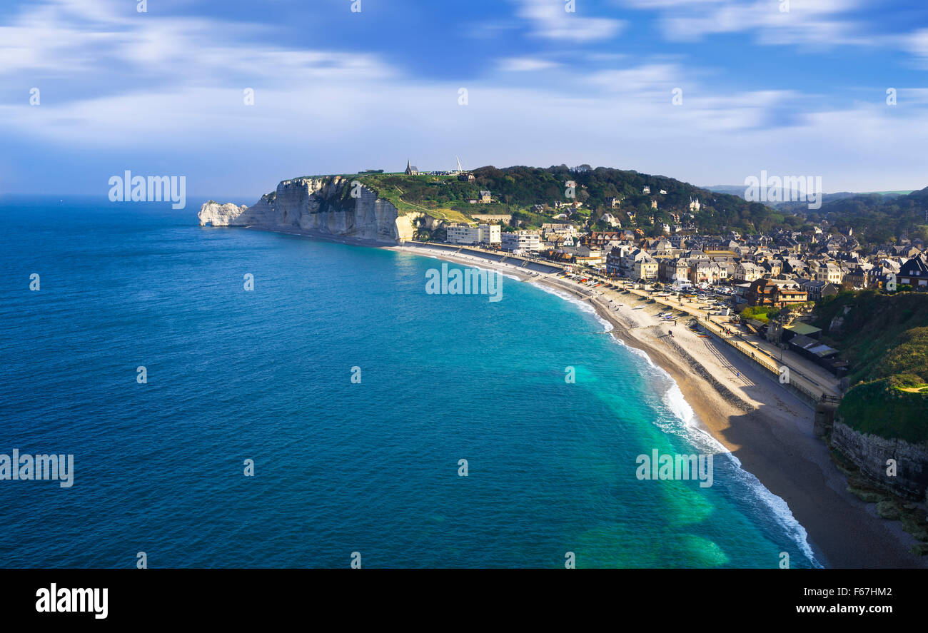 Falaise d'Amont cliff and Etretat city, Normandy, France Stock Photo