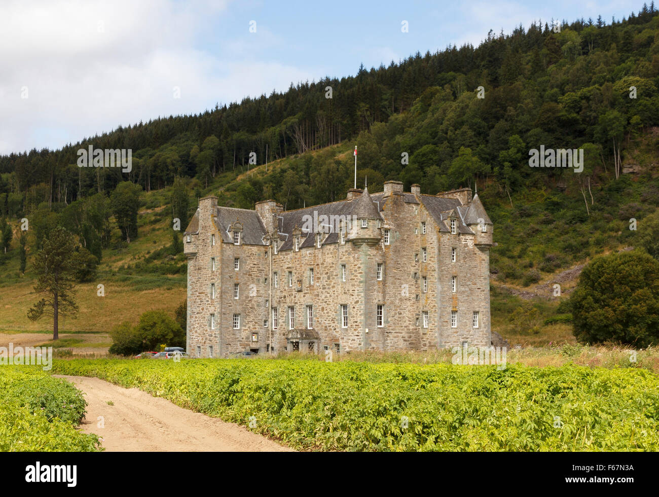 Castle Menzies is situated just outside the town of Aberfeldy, Perth and Kinross, Scotland - Stock Image