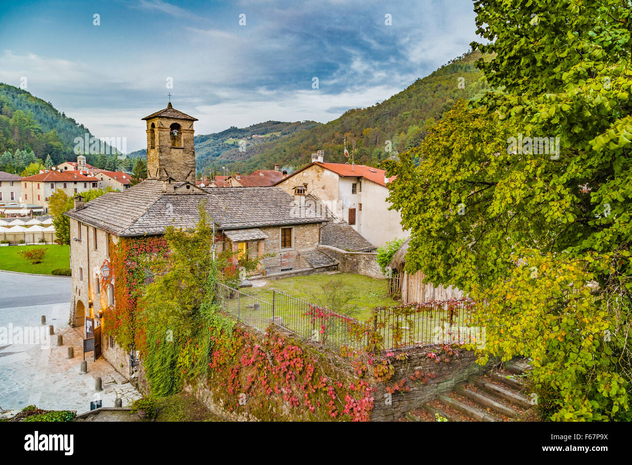 The Palace of the Captains in medieval mountain village in Tuscany characterized by houses with walls of stones Stock Photo