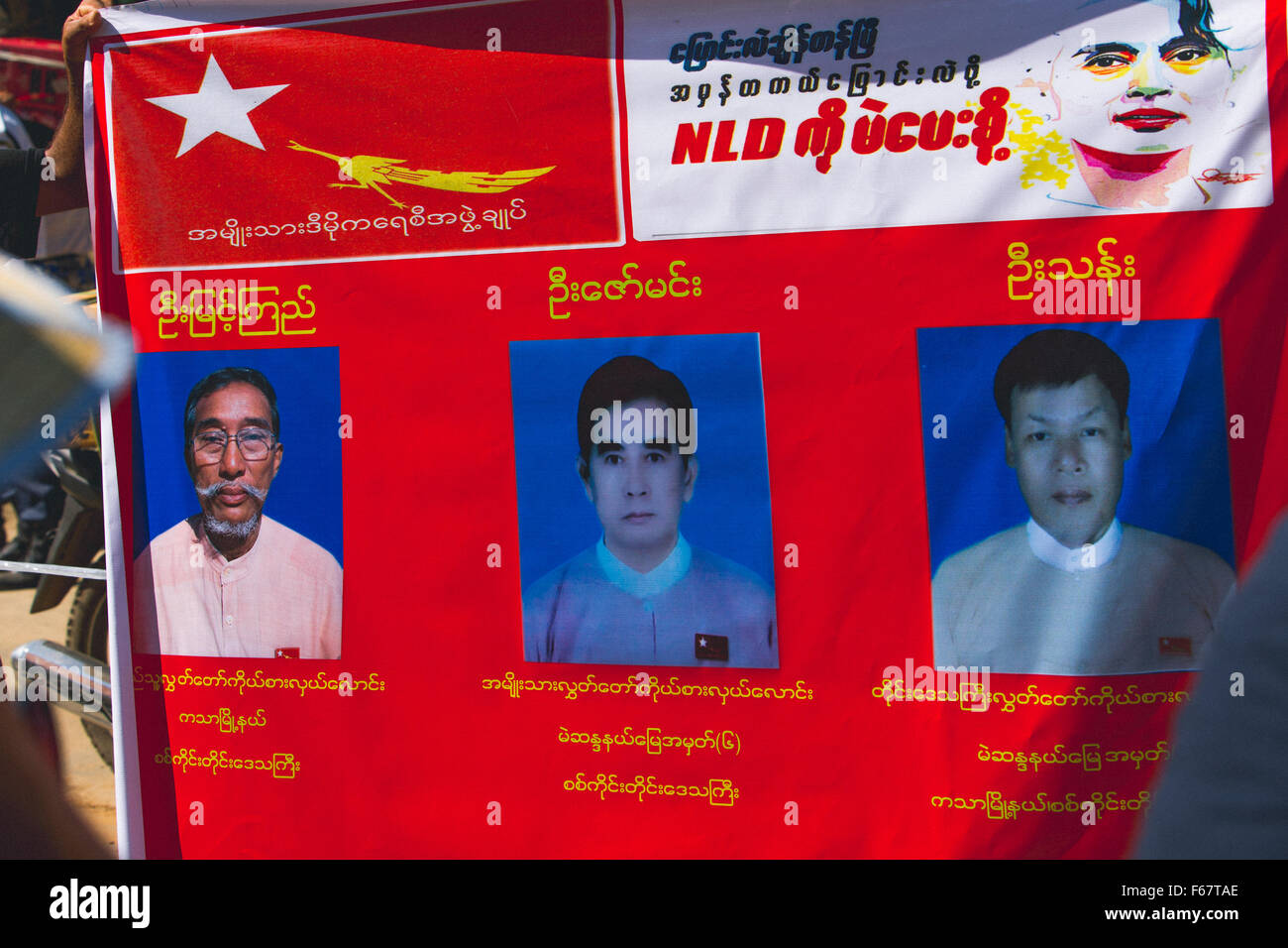 NLD election poster candidates - Stock Image