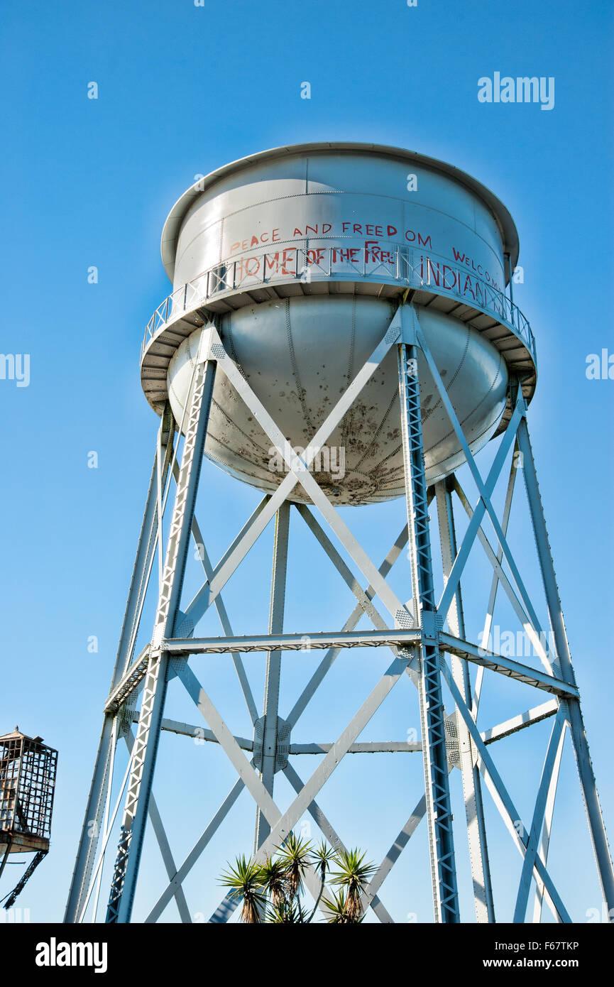 ALCATRAZ ISLAND, CA - NOV 6, 2015: Alcatraz Island's water tower. Alcatraz is known for Alcatraz Federal Penitentiary Stock Photo
