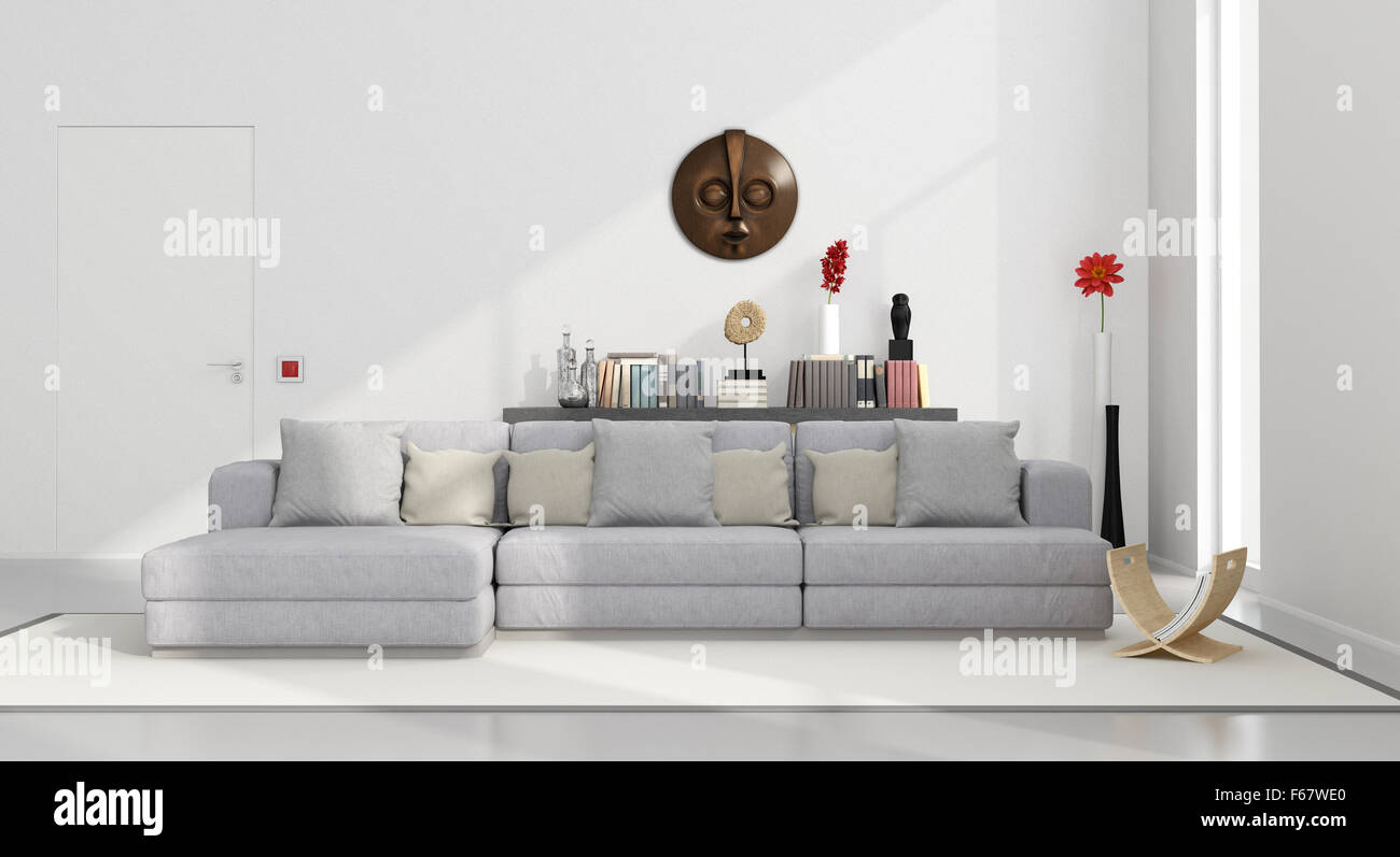 White Minimalist Living Room With Gray Couch And Decor