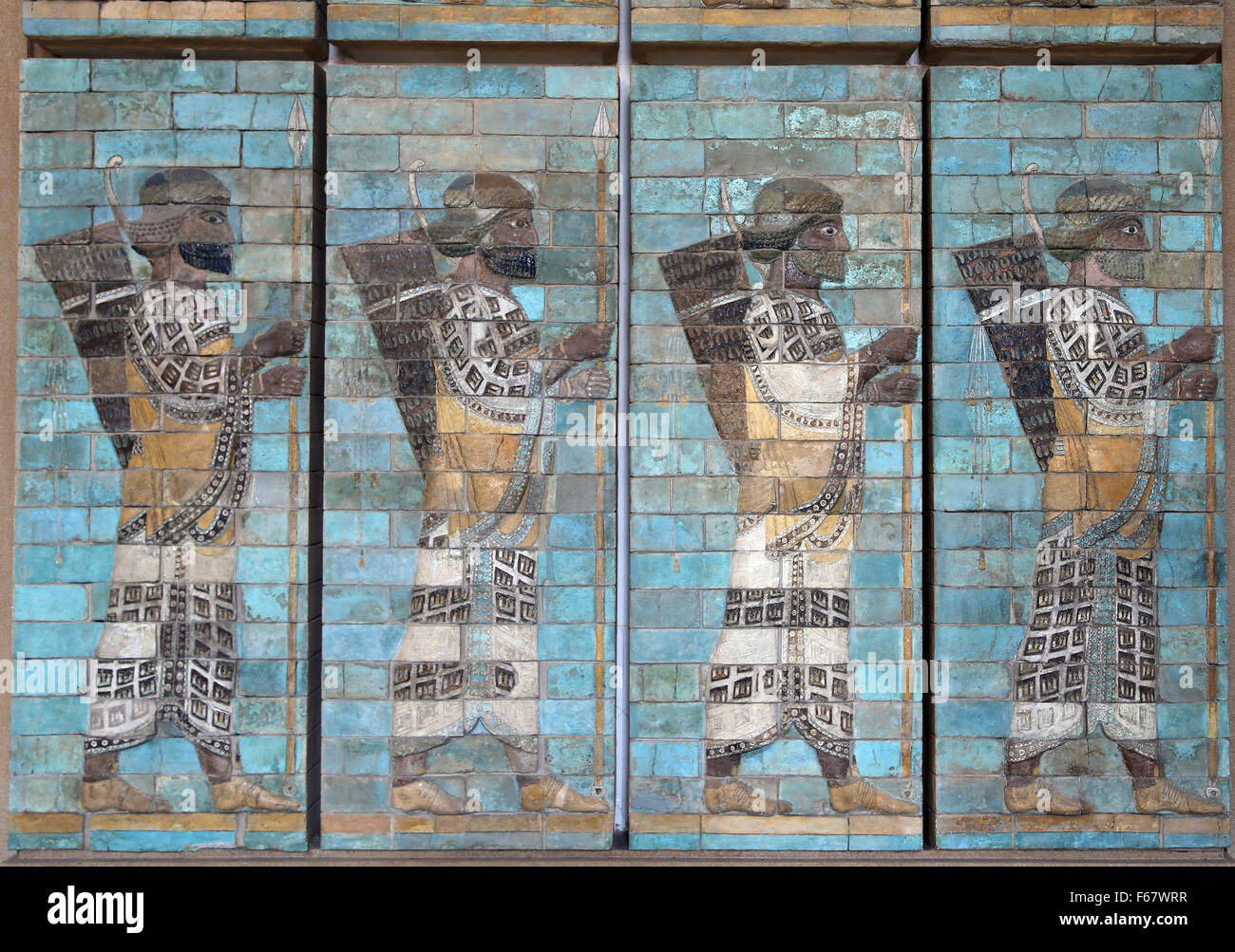 Frieze of Archers. Persian soldiers. Palace of Darius the Great. 6th century BC. Susa. Iran. Louvre Museum. Paris. - Stock Image