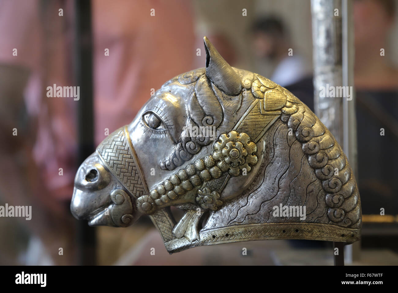 Eastern Antiquities. Sassanian period. Horse head. Silver. 4th century AD. Iran. Louvre Museum.    Paris. France. - Stock Image