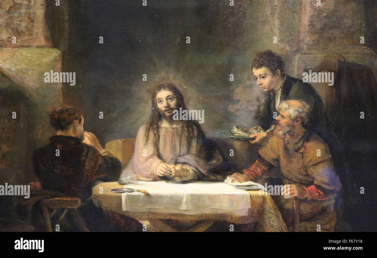 Rembrandt (1606-1669). Dutch Painter. Christ at Emmaus, 1648. Louvre Museum. Paris. France. Detail. - Stock Image