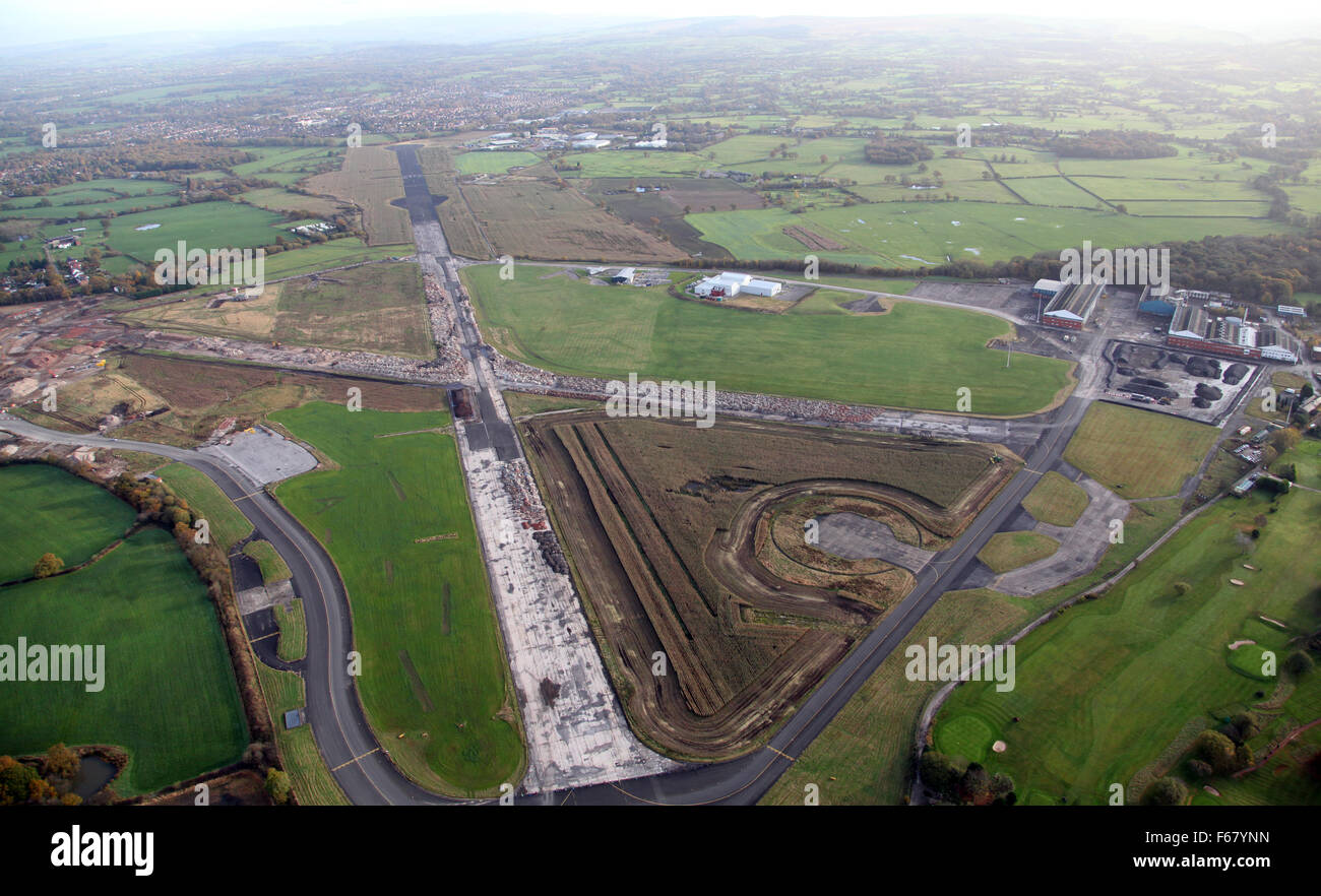 aerial view of Woodford Aerodrome near Manchester Airport in Cheshire, UK - Stock Image