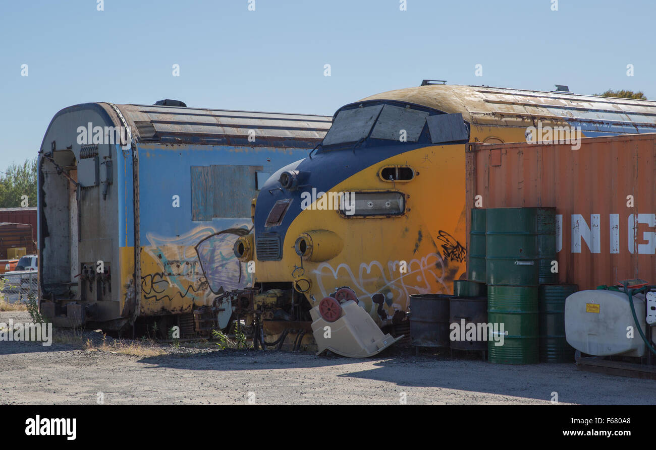 An old disused shell of the Northlander locomotive sitting in North Bay Ontario Stock Photo