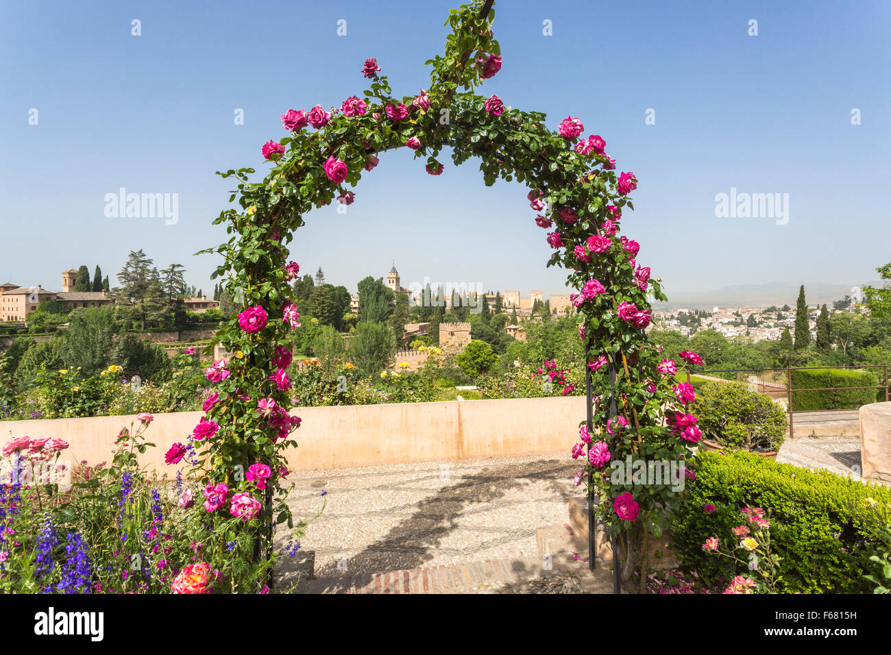 Panoramic view over the Alhambra from the gardens of the Generalife Palace, Alhambra, Granada, Andalucia, southern Stock Photo