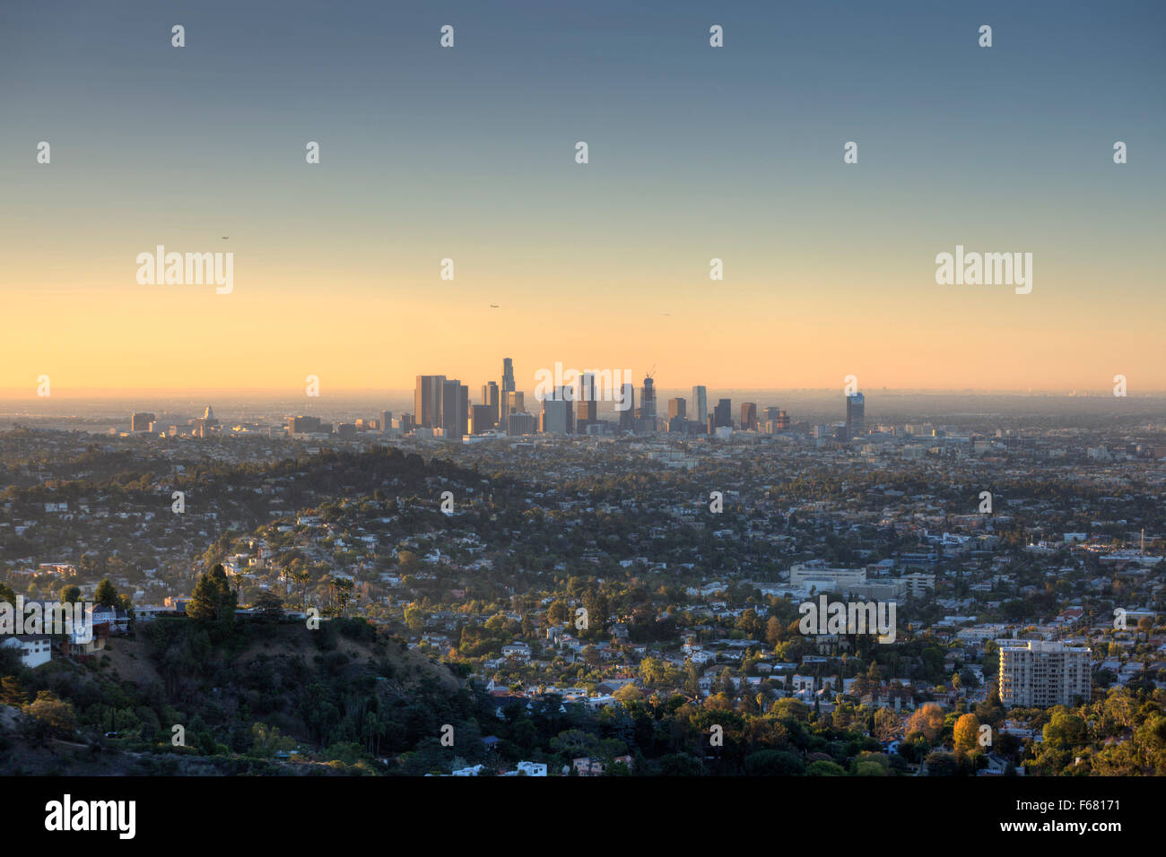 The City of Los Angeles at dawn. - Stock Image
