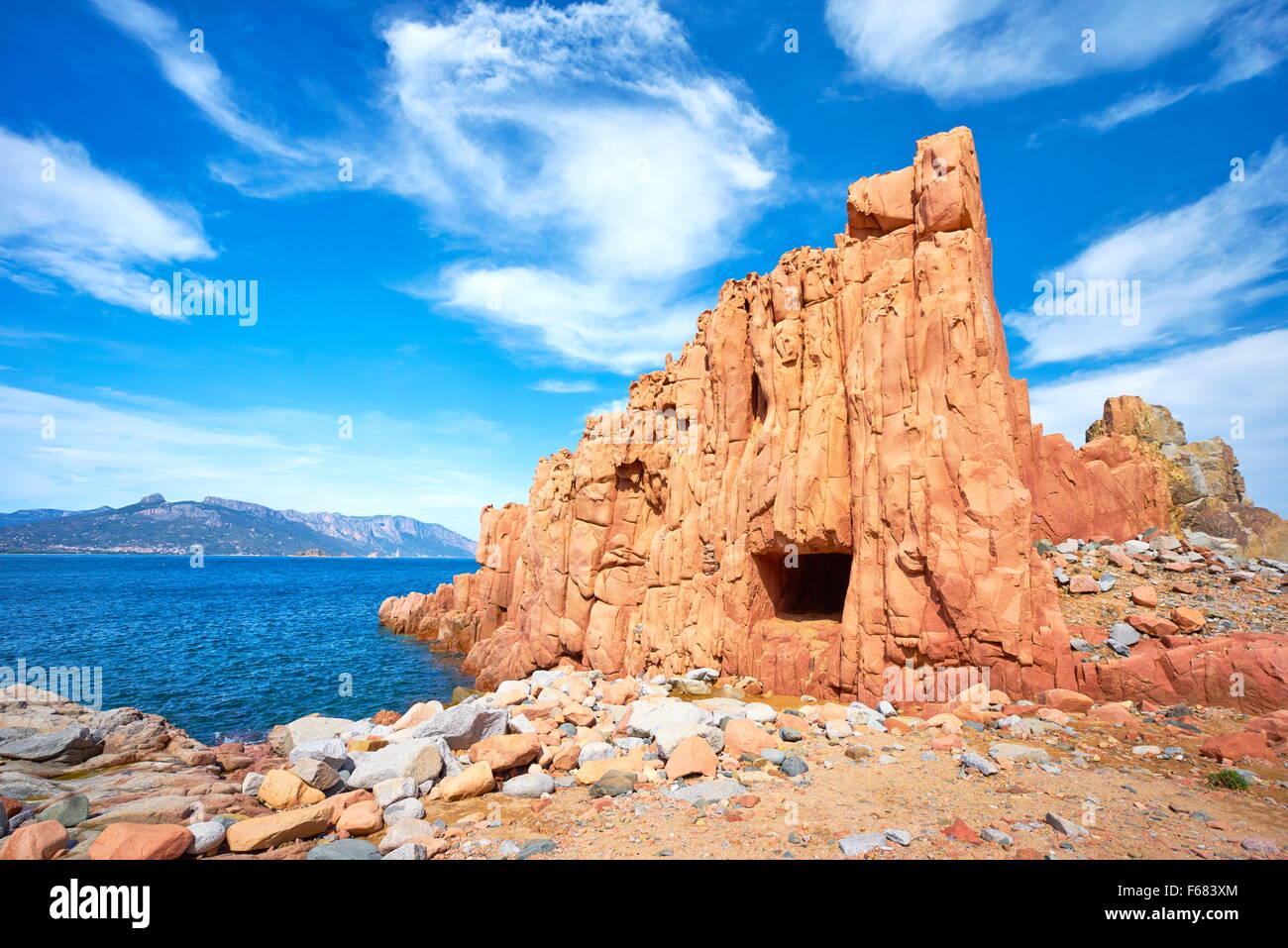 Arbatax, Red Rocks, Golfo di Orosei, Sardinia Island, Italy - Stock Image