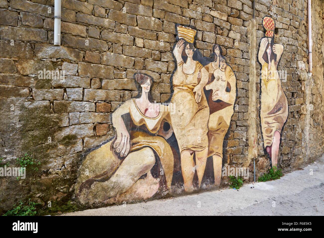 Sardinia, Italy, murales in Orgosolo Village, wall art painting Stock Photo