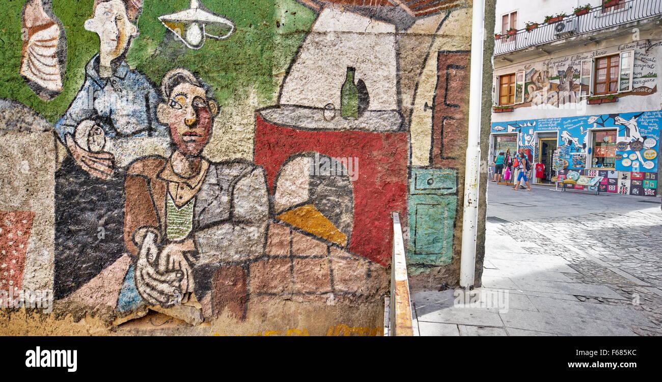 Murales in Orgosolo Village, street wall painting, Sardinia Island, Italy Stock Photo