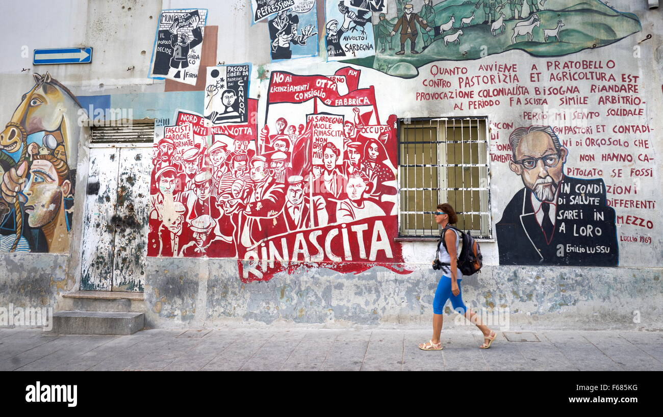 murales in orgosolo village street art wall painting sardinia stock photo 89919860 alamy. Black Bedroom Furniture Sets. Home Design Ideas