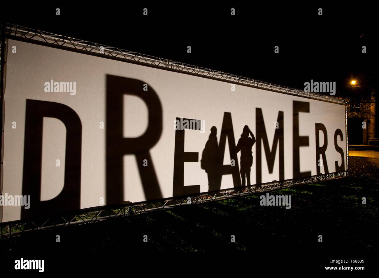 Durham, Co. Durham, England - November 13, 2015:  DREAMERS, by Elisa Artesero (UK), in the Crown Court Gardens. - Stock Image