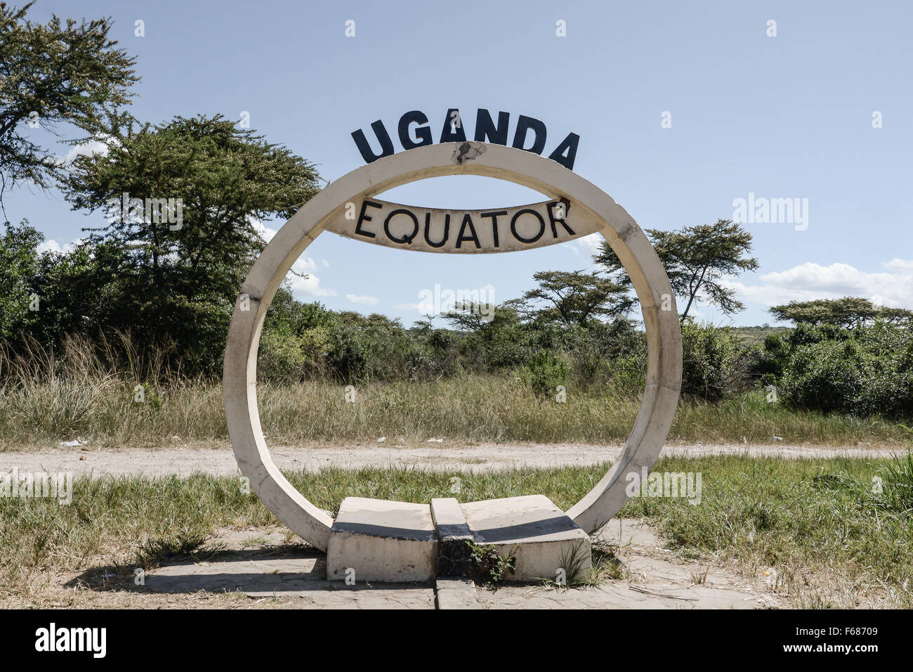The sign of the equator in Uganda. - Stock Image