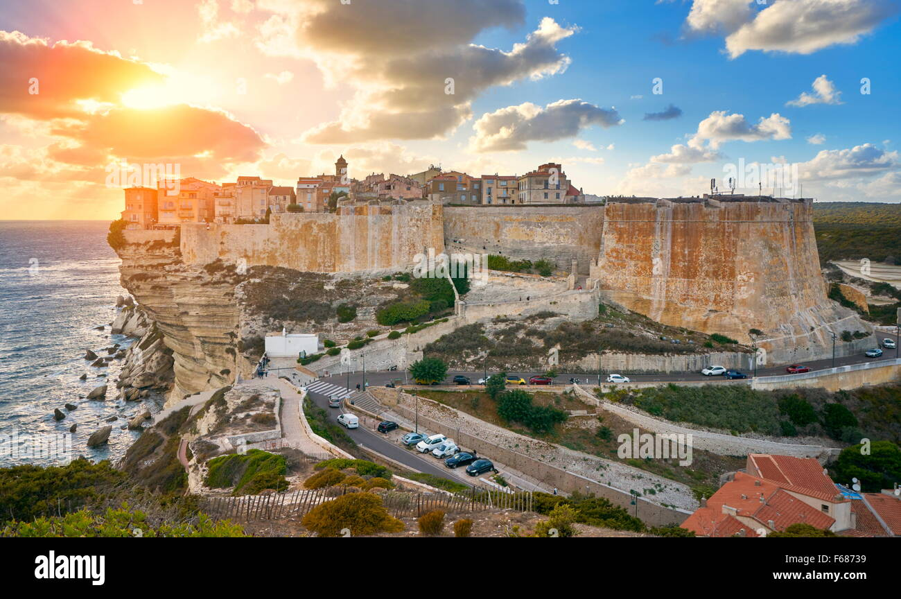 Sunset over Bonifacio, Corsica Island, France - Stock Image