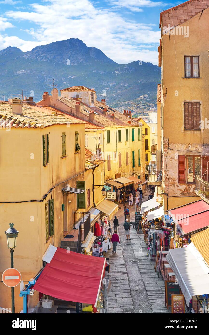 Calvi Old Town, Balagne, West Coast, Corsica Island, France - Stock Image