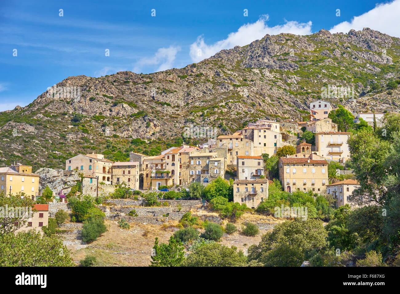 Small mountain village Lama, Balagne, West Coast, Corsica Island, France - Stock Image
