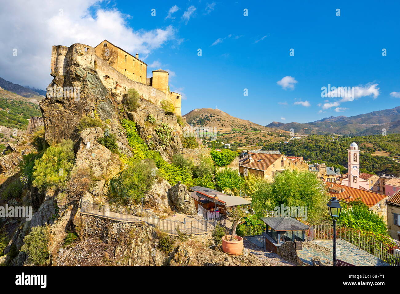 Corte, the Citadel in the Old Town, Corsica Island, France Stock Photo
