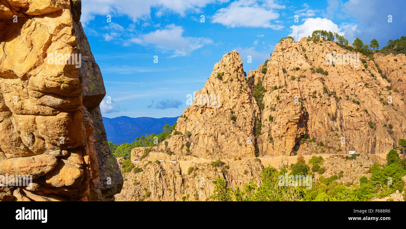 Volcanic red rocks formations mountains, Les Calanches, Piana, Corsica Island, France, UNESCO - Stock Image