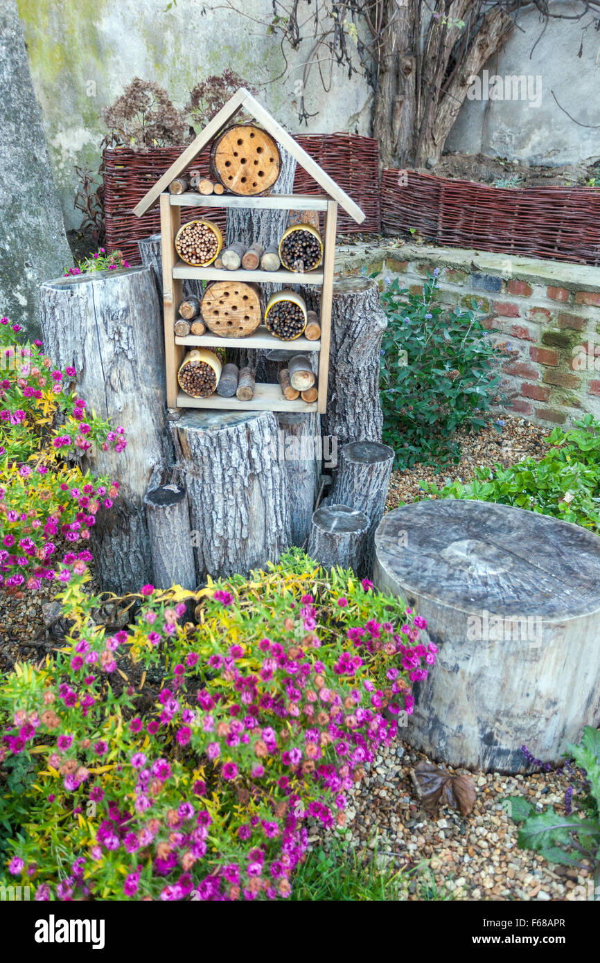 Insect Hotel For Different Bugs Insects And Bees In The Garden Bee Stock Photo Alamy