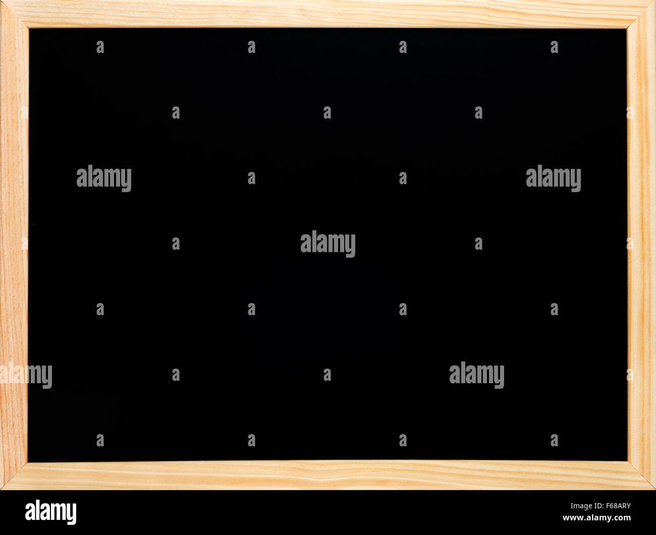 Rectangular wooden blackboard or chalkboard. Empty black writing surface ready for chalk text or drawing. - Stock Image
