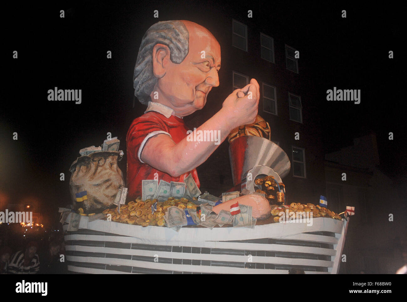 The Cliffe Bonfire Society's tableau depicting Sepp Blatter at the Lewes Bonfire 2015 celebrations this evening - Stock Image