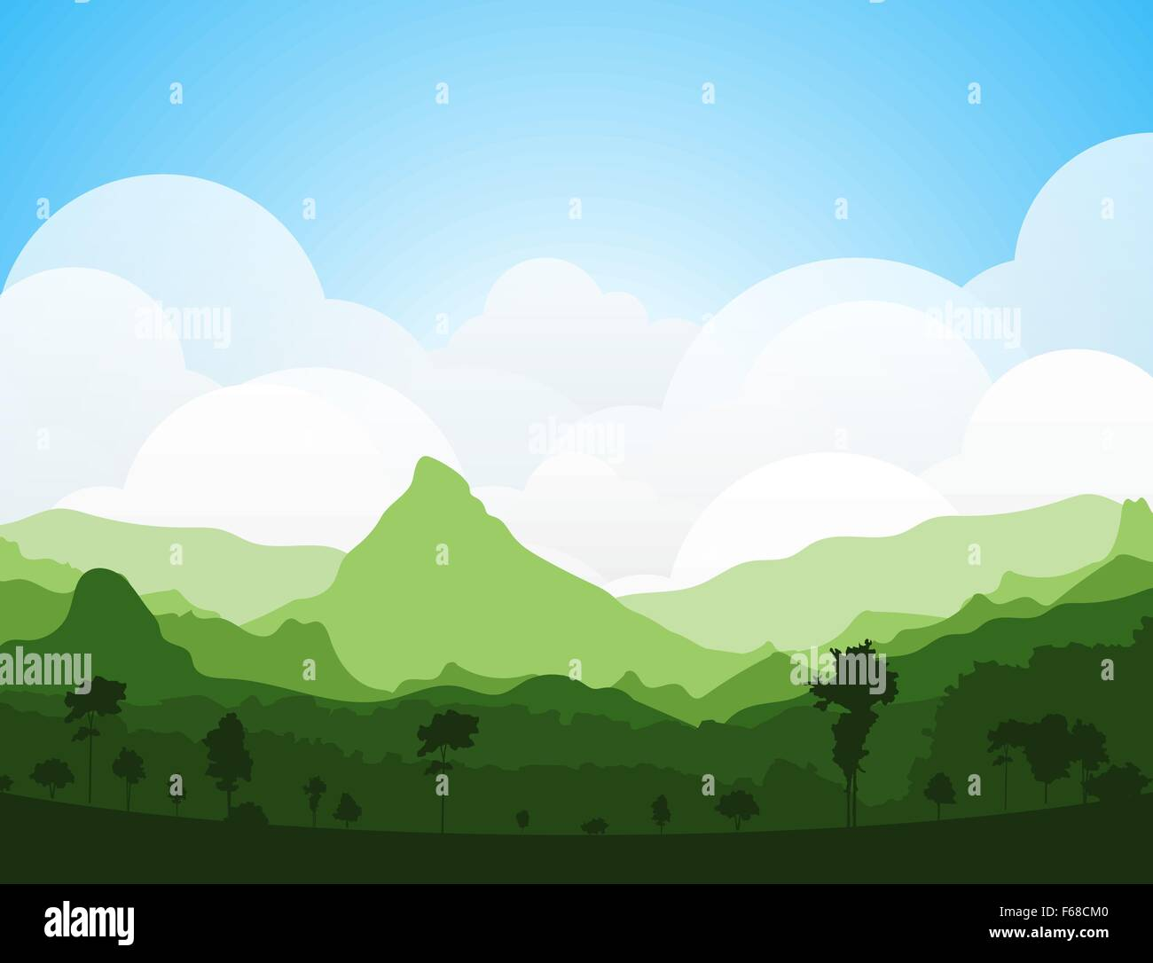 Colorful Silhouette Summer Landscape Background For Graphic Design Stock Vector Image Art Alamy